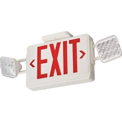 Contractor Select ECRG SQ 20-Watt Equivalent 120-Volt/277-Volt Integrated LED White Exit/Emergency Combo Unit