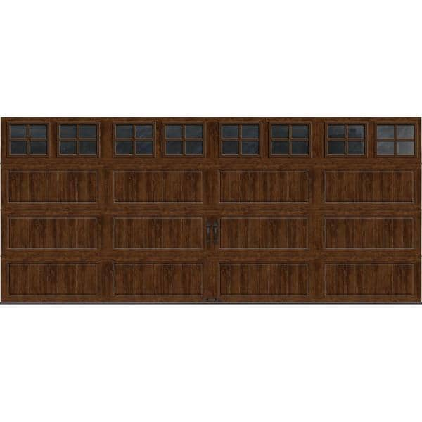Clopay Gallery Collection 16 Ft X 7 Ft 6 5 R Value Insulated Ultra Grain Walnut Garage Door With Sq22 Window Gr1lp Wo Sq22 The Home Depot