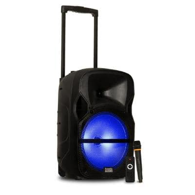 Battery Powered 12 in. Bluetooth LED Speaker and Wireless Mic
