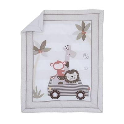 Jungle Ride 3-Piece Grey White and Brown Nursery Mini Crib Bedding Set (Comforter 2-Fitted Mini Crib Sheets)