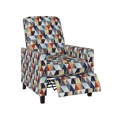 Classic Blue Multi Kite Print Pushback Recliner Chair