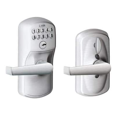 Plymouth Satin Chrome Electronic Door Lock with Elan Door Lever Featuring Flex Lock
