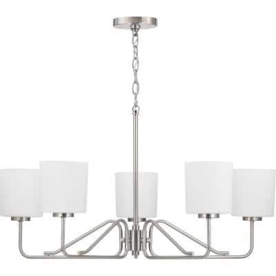 Tobin Collection 5-Light Brushed Nickel Etched White Glass Modern Chandelier Light
