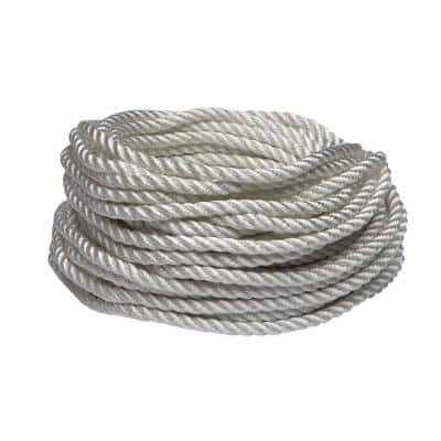 1/4 in. x 50 ft. White Twisted Nylon Rope