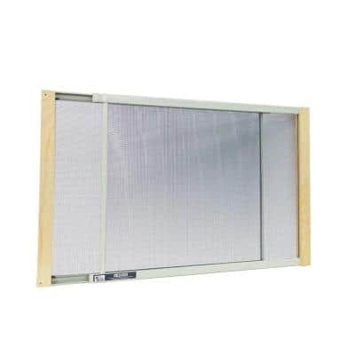 21 - 37 in. W x 18 in. H Clear Wood Frame Adjustable Window Screen