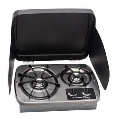 2-Burner Drop-In RV Cooktop Stove, includes Cover