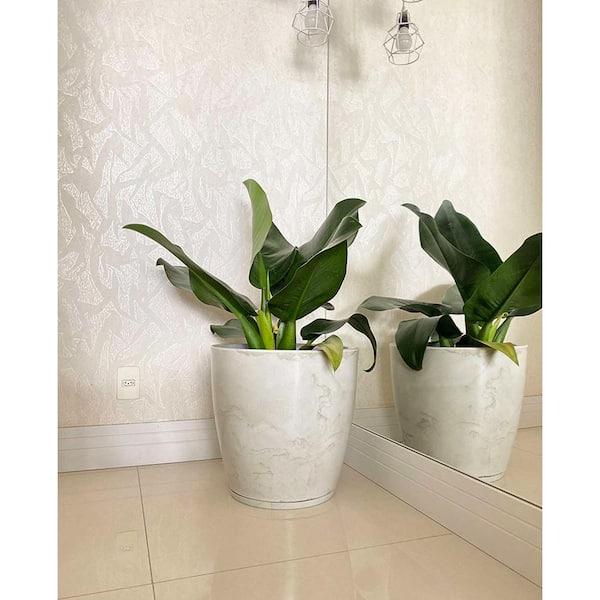 Floridis Amsterdan Large White Marble Effect Resin Planter Bowl 10 16 0549 The Home Depot
