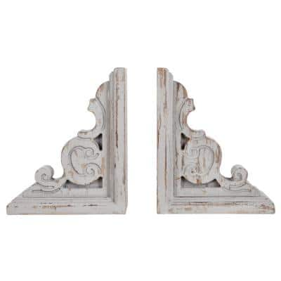 Tradition Distressed Taupe Wood Book Ends (2-Pack)