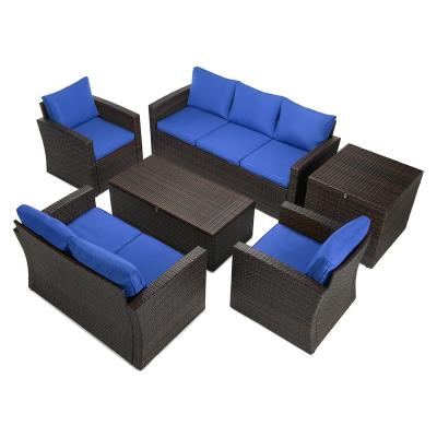 6-Piece Wicker Patio Conversation Set with Blue Cushions