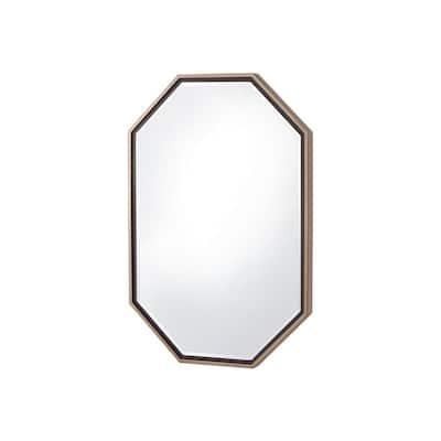 Medium Oval Champagne Beveled Glass Modern Mirror (36 in. H x 24 in. W)