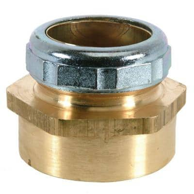 1-1/4 in. O.D. Compression x 1-1/2 in. FIP Brass Waste Connector with Die Cast Nut in Chrome