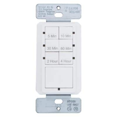15 Amp 4-Hour In-Wall Push Button Countdown Timer Switch with Screw Terminals, White