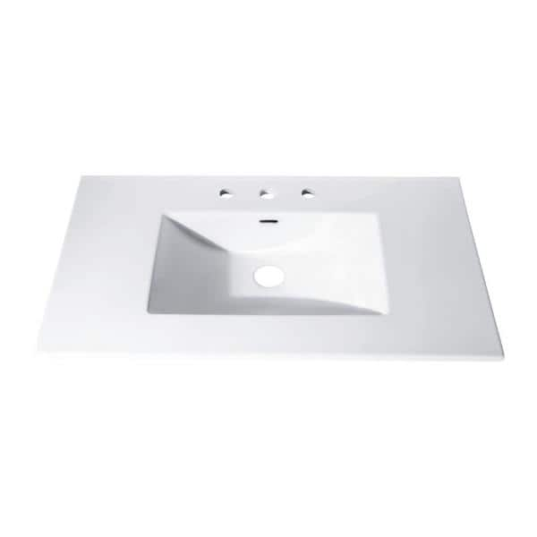 37 In X 22 In Vitreous China Vanity Top With Rectangular Bowl In White Cut37wt The Home Depot