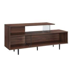 60 in. Dark Walnut Composite TV Stand 65 in. with Cable Management