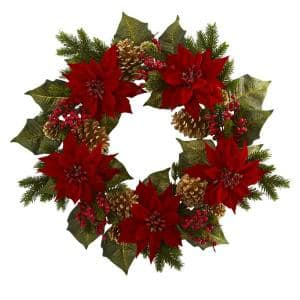 24in. Unlit Artifical Holiday Wreath with Poinsettia, Berry and Golden Pine Cone