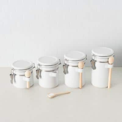 4 Piece Ceramic Canister Set with Wooden Spoons, White