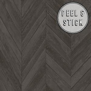 Herringbone Wood Dark Grey Vinyl Peelable Roll (Covers 30.75 sq. ft.)
