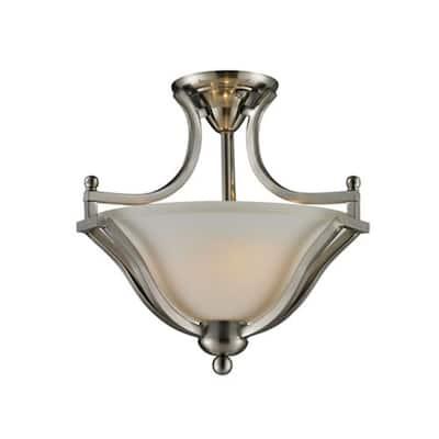 Lawrence 2-Light Brushed Nickel Incandescent Ceiling Semi-Flush Mount Light