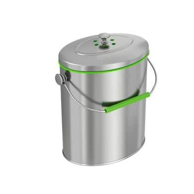 1.6 Gal. Titanium Oval Compost Bin with AbsorbX Odor Filter System, Pest-Proof, Rust-Free Kitchen Countertop Trash Can