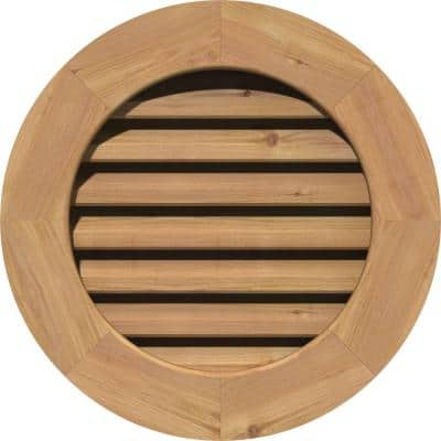 21 in. x 21 in. Round Unfinished Smooth Western Red Cedar Wood Paintable Gable Louver Vent