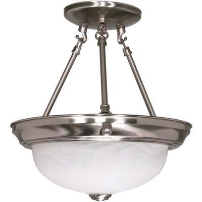 2-Light Brushed Nickel Dome Semi-Flush Mount Light