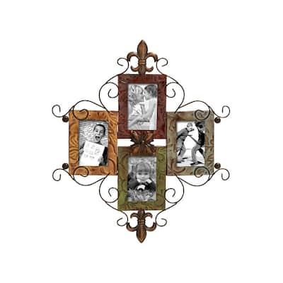 Multi-Colored Fleur-de-Lis 4-Opening Wall Photo Frame