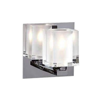1-Light Polished Chrome Sconce with Frost Glass
