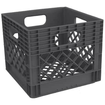 6.5 Gal. Milk Crate Storage Tote in Graphite