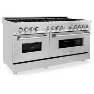 60 in. 7.4 cu. ft. Dual Fuel Range with Gas Stove and Electric Oven in Stainless Steel