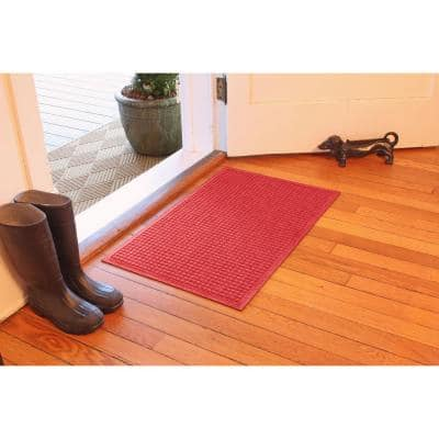 Aqua Shield Squares 23 in. x 35 in. PET Polyester Doormat Solid Red