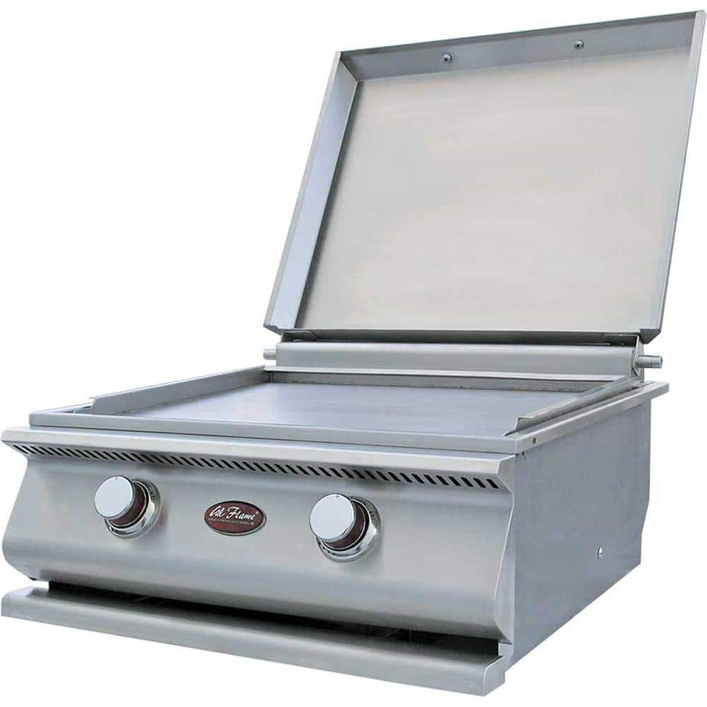 Cal Flame 15 000 Btu 2 Burner Built In Stainless Steel Propane Gas Hibachi Flat Top Griddle Bbq19900p The Home Depot