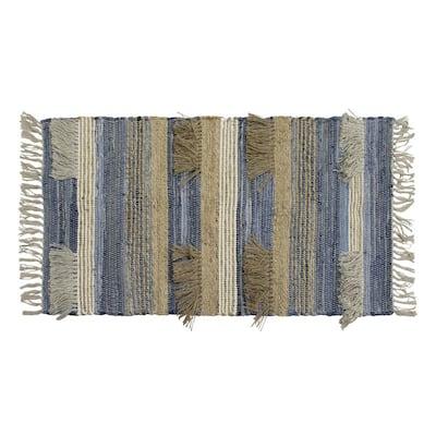 Mitsiki Fringe Denim Blue 2 ft. x 4 ft. Moroccan Accent Rug