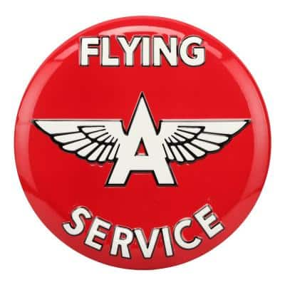 Flying A Service Embossed Tin Button Sign