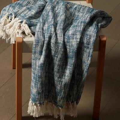 Boho Blue 50 in. x 60 in. Chambray Woven Fringe Throw Blanket