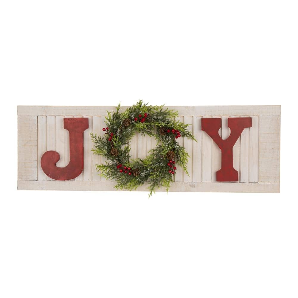 Glitzhome 8 In H Wooden Joy Wall Decor 1115203420 The Home Depot