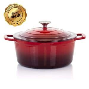 4 Qt. Round Enameled Cast Iron Casserole in Red with Lid