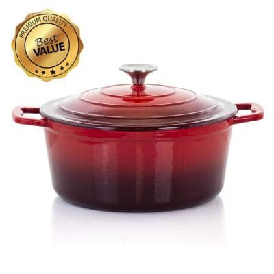MegaChef 4 Qt. Round Enameled Cast Iron Casserole in Red with Lid