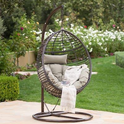 Multi-Brown Steel Egg-Shaped Patio Swing with Khaki Cushion