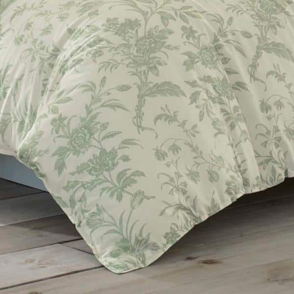 Laura Ashley Natalie 3 Piece Green Floral Cotton Full Queen Duvet Cover Set Ushsfn1065081 The Home Depot