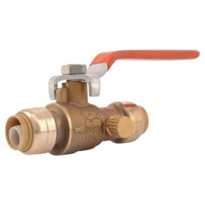 1/2 in. Push-to-Connect Brass Ball Valve with Drain
