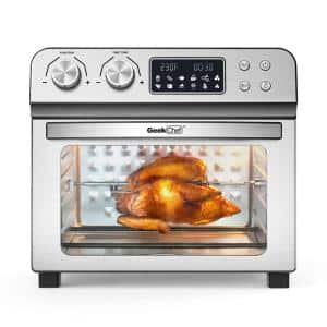 1700-Watt 24 qt. Silver Stainless Steel Air Fryer Oven with Crumb Tray, Aluminum Bake Tray and Accessories