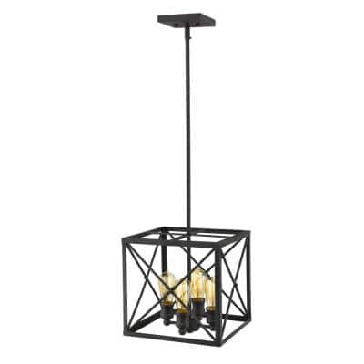 Brooklyn 4-Light Matte Black Pendant With Metal Framework Shade