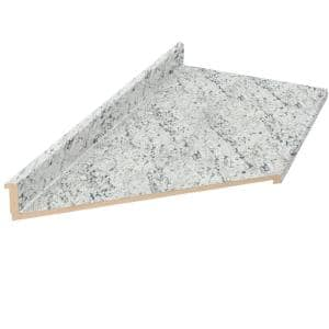 10 ft. Cream Laminate Countertop With Left Miter and Eased Edge in White Ice Granite Etchings