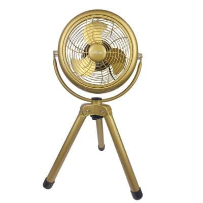 Retro 8 in. 3 Speed Floor Fan with Tripod Stand in Painted Gold