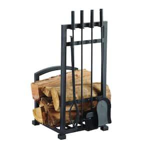 Harper 4-Piece Log Holder and Fireplace Tool Set
