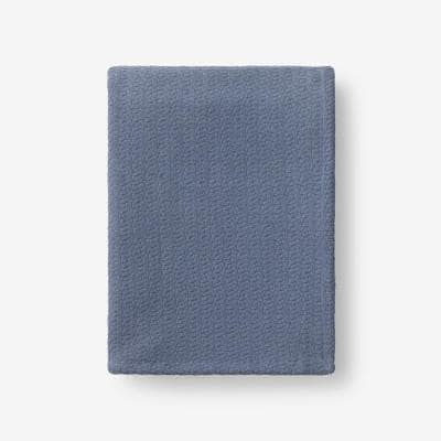 Organic Cotton Shadow Blue Solid Woven Throw Blanket