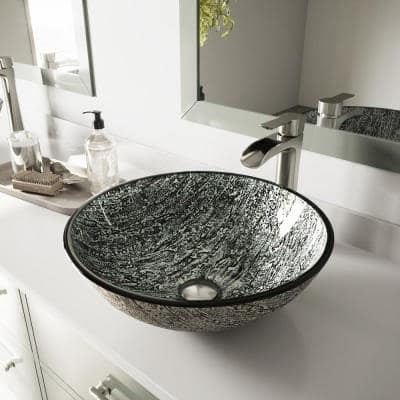 Glass Round Vessel Bathroom Sink in Titanium Gray with Niko Faucet and Pop-Up Drain in Brushed Nickel