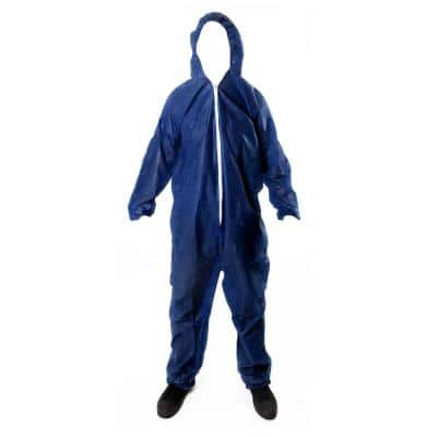 Coverall Hood Elastic Cuffs Chemical Protective Disposable Workwear for Cleaning Painting Manufacturing Blue Size 2X