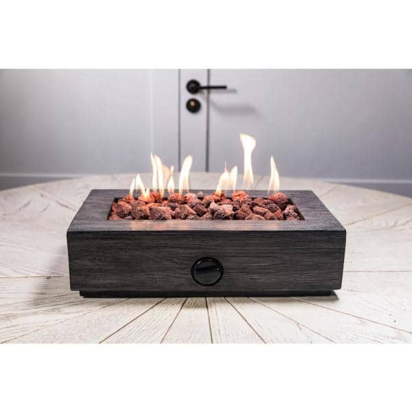 Hampton Bay 17 1 In X 6 6 In Rectangular Cement Gas Fire Pit Faux Wood Tabletop Fp11053 A The Home Depot