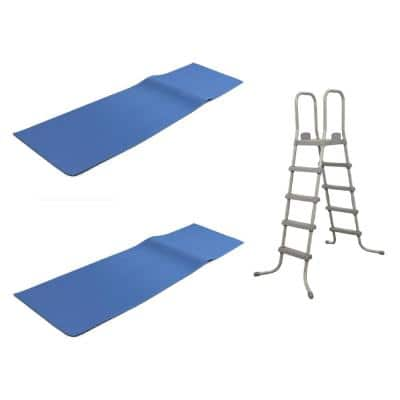 52 in. Steel Pool Ladder with 9 in. x 36 in. Vinyl Ladder Mat Above Ground Pool (2-Pack)